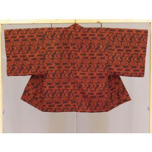 日本製 旅館・ホテル用茶羽織半天 変わり流水柄 赤 20枚セット 受注生産品|ryokan-yukata|02