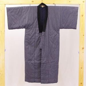 日本製 綿入れ丹前 帯付き 男性用 紺格子柄|ryokan-yukata|03