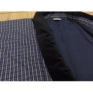 日本製 綿入れ丹前 帯付き 男性用 紺格子柄|ryokan-yukata|04