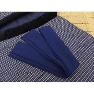 日本製 綿入れ丹前 帯付き 男性用 紺格子柄|ryokan-yukata|05