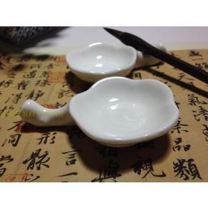 陶器 筆洗い 梅花墨池 筆置き付 |ryokufuu