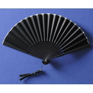 本革扇子 ブラック(レザーファン 牛本革使用)|ryokushusen