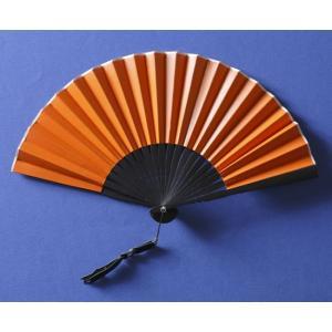 本革扇子 オレンジ(レザーファン 牛本革使用)|ryokushusen