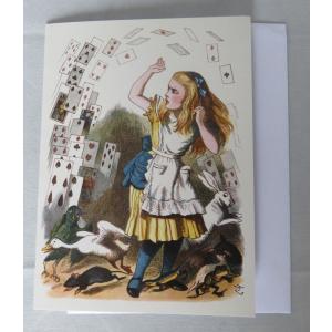 不思議の国のアリス グリーティングカード 中無地 封筒付き アリスとトランプ 大英図書館 312279 英国輸入雑貨|ryoshindoshop