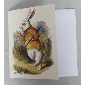 不思議の国のアリス グリーティングカード 中無地 封筒付き 白うさぎ 大英図書館 251561 英国輸入雑貨 ryoshindoshop