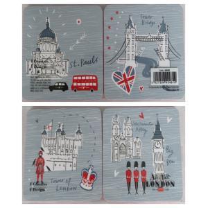 Alice Tait アリス・テイト ロンドンマップ コースター 4種セット 木製 44048 英国輸入雑貨  イギリス人気 London Set of Coasters|ryoshindoshop