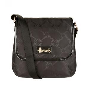 Harrods(ハロッズ) ジャカード クロスボディバッグ 黒 Jacquard Crossbody Bag 英国ブランド イギリス人気 斜め掛けショルダーバッグ|ryoshindoshop