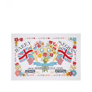 Harrods x Ulster Weavers 花と国旗 ロイヤルウェディング ティータオル ハリー王子 メーガン・マークル ご成婚記念  ハロッズ アルスターウィーバース 英国製|ryoshindoshop
