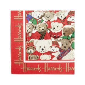 1枚ばら売り Harrods (ハロッズ)ペーパーナプキン イヤーベア30周年記念 クリスマス柄 33x33 デコパージュ 単品 クリスマスベア|ryoshindoshop