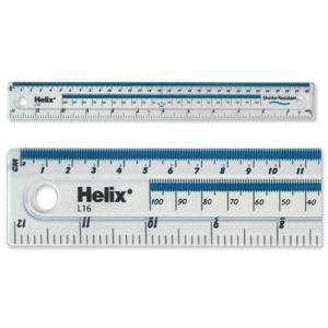 Helix へリックス 飛散防止 センチ・インチ・ミリ定規 クリア 30cm/12in RULE L16 透明ルーラー ものさし イギリス 海外文房具|ryoshindoshop