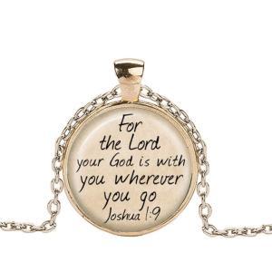 クリスチャンジュエリー 聖書 みことば ネックレス ペンダント God Is with You ヨシュア1:9  ゴールド ブラック|ryoshindoshop