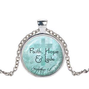 クリスチャンジュエリー 聖書 みことば ネックレス ペンダント Faith, Hope & Love コリントI 13章 信仰・希望・愛 シルバー ゴールド|ryoshindoshop