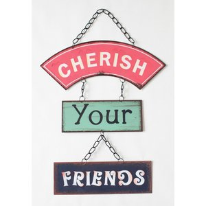 英国製 レトロ調 メタルサインプレート 3連 CHERISH YOUR FRIENDS|ryoshindoshop
