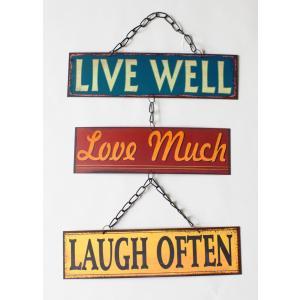 英国製 レトロ調 メタルサインプレート 3連 LIVE WELL Love Much LAUGH OFTEN|ryoshindoshop