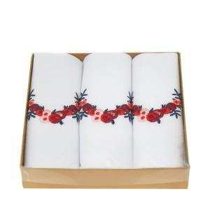 Liberty リバティ ロンドン 花刺繍白地ハンカチ 3枚セット ギフトボックス 箱入り リバティフラワー|ryoshindoshop