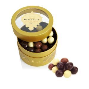 Harrods (ハロッズ) ナッツチョコレート  ヘーゼルナッツ 3種のチョコレートコーティング 325g ミルク・ダーク・ホワイト 英国ブランド イギリス|ryoshindoshop