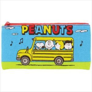 PEANUTS スヌーピー フラットポーチM バス ES158A ペンケース 小物入れ 筆箱 チャーリーブラウン|ryoshindoshop