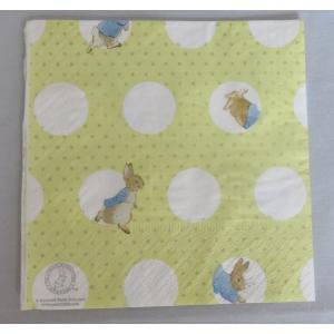 1枚ばら売り Peter Rabbit (ピーターラビット)ペーパーナプキン カクテルナプキン ドット柄 イエロー 25x25 デコパージュ 単品 ビアトリクスポター|ryoshindoshop