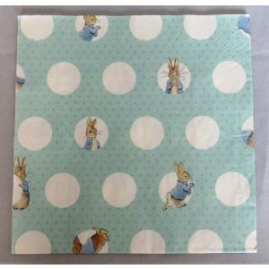 1枚ばら売り Peter Rabbit (ピーターラビット)ペーパーナプキン ランチナプキン ドット柄 ブルー 33x33 デコパージュ 単品 ビアトリクスポター|ryoshindoshop