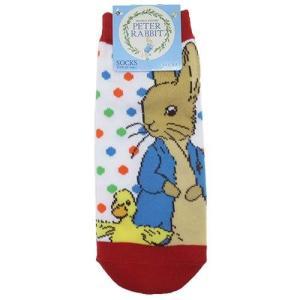 ピーターラビット レディースソックス ドット WH×RD 靴下 Peter Rabbit 22-24cm|ryoshindoshop