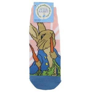 ピーターラビット レディースソックス ユニオンジャック PK×BL 靴下 Peter Rabbit 22-24cm|ryoshindoshop