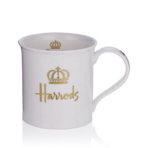 ハロッズ Harrods ダイヤモンドジュビリー王冠 マグカップ 白 Gold Crown Mug 英国王室御用達 輸入雑貨 ティー用品|ryoshindoshop