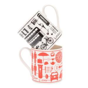 Victoria Eggs ロンドン柄 マグカップ Airfix London ヴィクトリア・エッグス ブラック レッド 英国輸入雑貨 イギリス人気|ryoshindoshop