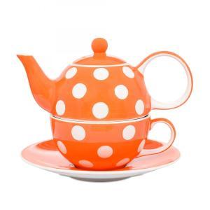 Whittard (ウィッタード) ティーフォーワン オレンジスポット 水玉 Florence Orange Spot Tea for One 一人用ポット&カップセット 英国輸入雑貨 ティー用品|ryoshindoshop