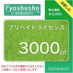 【ryoshusho.jp】ECモール出店者向け領収書自動発行システム ポイントチャージ用 ライセンス 3000pt|ryoshusho