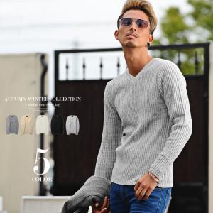 Vネックニット メンズ おしゃれニット ウール混 かっこいいセーター  メンズファッション 20代 ...