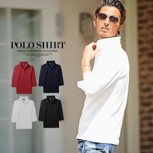 ポロシャツ メンズ オシャレ 7分袖 ダイヤモンドチェック イタリアンカラー メンズファッション 3...