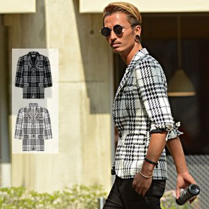 テーラードジャケット メンズ 夏 半端袖 7分袖 シェパード...