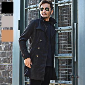 トレンチコート ロングコート メンズ ビジネス スエード カジュアル コート 冬服の画像