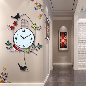 A-KUYA モダン デザイン 簡約 可愛い鳥 蝶 枝 数字時計 ファッション 壁掛け インテリア ホーム 玄関 オフィス リビング おしゃ|rysss