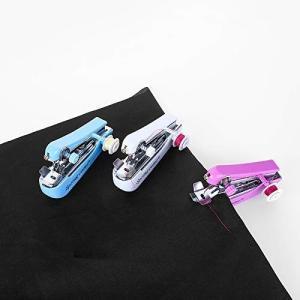 片手で縫える ポータブルタイプの携帯ミシン ミニハンドヘルド手動ミシン糸通し 巻き取り棒付き カラー(ランダム)|rysss