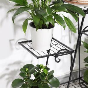 フラワースタンド ガーデンラック 3段 アイアン 植物棚 室内 花台 屋外 植物スタンド ガーデニング ラック(黒)|rysss