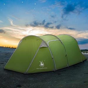 テント 2ルーム ツーリングテント 3-4人用 キャンプテント 大型 トンネル型 前室付き 日よけ 防雨 通気 メッシュ 軽量 コンパクト rysss