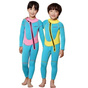 2.5MM子供用ウエットスーツ 2.5ミリ 防寒保温連体フルスーツ 男女兼用 長袖 キッズダイビング...