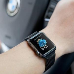 METEQI バンド 対応 Apple Watch, ミラネーゼループ ステンレス留め金製 長度調節...