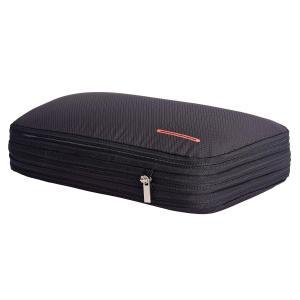 超便利旅行圧縮バッグ ファスナー圧縮で衣類スペース50%節約 軽量 出張 旅行 可変スペース 便利グッズ ブラック rysss