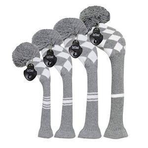 グレー白の菱形ーニットゴルフヘッドカバークラブ、4枚セット 、番号タグ調節可能な、反しわ抗ピリング、大きいポンポン、柔らかくて厚い、ドライバ|rysss