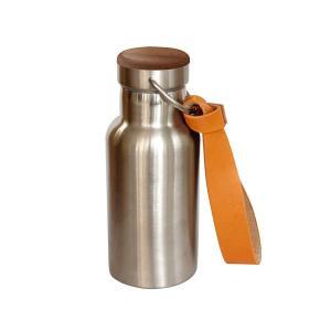 +LUMBER by Hacoa THERMO BOTTLE ステンレス素材の水筒に銘木を組み合わせたおしゃれなサーモボトル(革ストラップ付|rysss