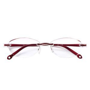 人気のふちなしタイプ フレームレスがお洒落な老眼鏡 オーバル ブルーライト35%カットPrePiar(レッド,+1.0)|rysss