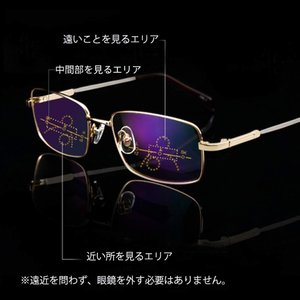 KLESIA 老眼鏡 累進変焦 遠近両用眼鏡 記憶合金 ブルーライト UV400対応可 KLESIA (2.5, ブラック)|rysss
