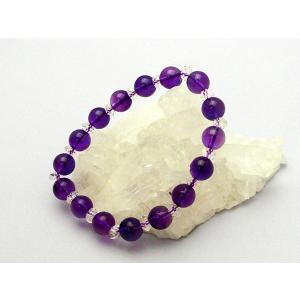 アメジスト 紫水晶 パワーストーン 天然石ブレスレット 丸玉8mm|ryu