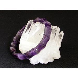 【愛の守護石】パワーストーン・アメジストブレスレット【紫水晶(アメジスト)】竹筒型|ryu