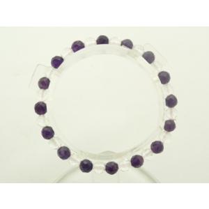 紫水晶 アメジスト カット水晶 パワーストーン 天然石ブレスレット 6mm|ryu