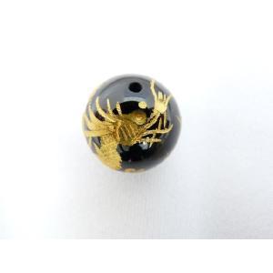 風水 龍 ドラゴン パワーストーン オニキス 龍 金彫りルース 14mm|ryu