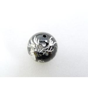 風水 龍 ドラゴン パワーストーン オニキス 銀色入り 龍 彫り物ルース 12mm|ryu