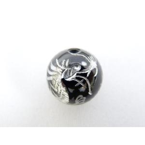 風水 龍 ドラゴン パワーストーン オニキス 銀色入り龍 彫り物ルース 14mm|ryu